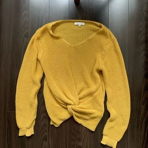 Yellow Woven Knit Sweater M